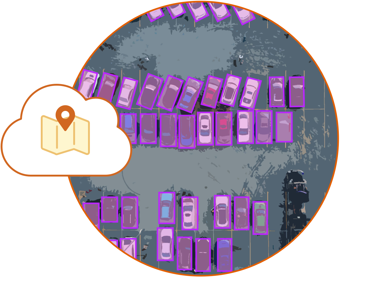 Illustration of cloud with a map marker overtop of an image of labeled cars in a parking lot.